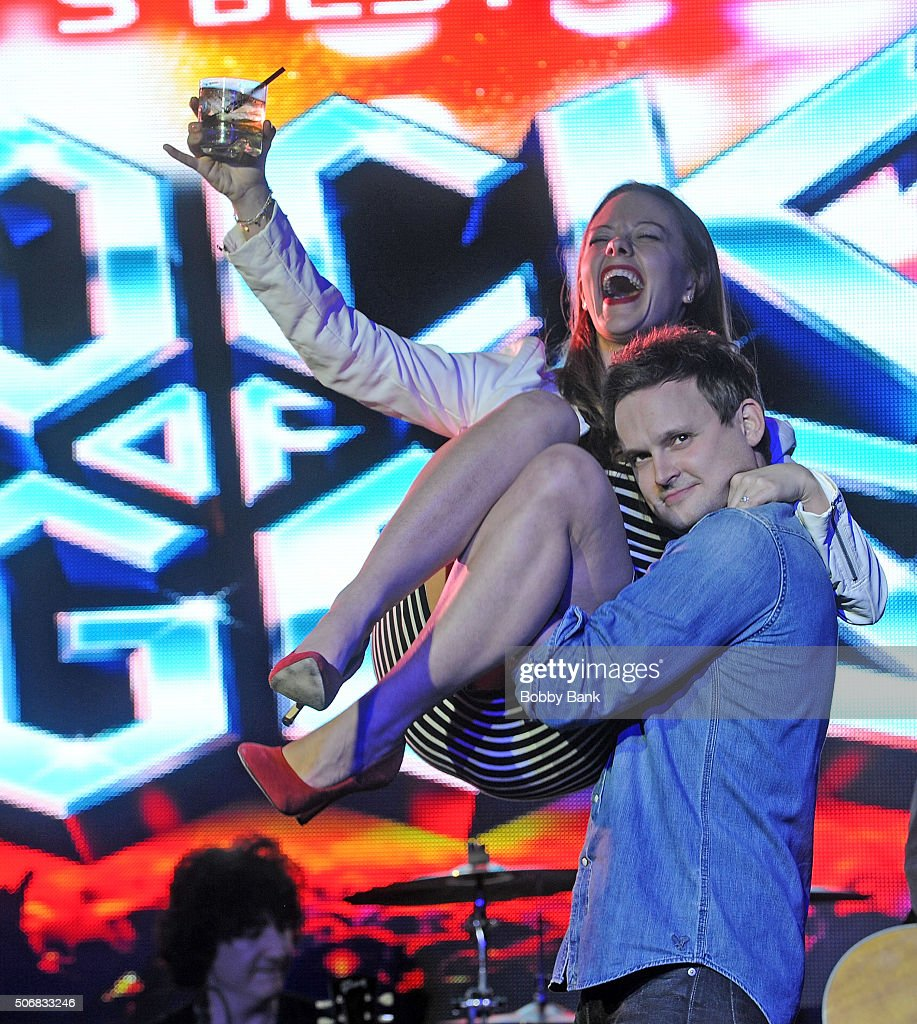 Kate Rockwell and Jeremy Woodard performs at the 'Rock Of Ages' Broadway Cast Reunion Concert at Highline Ballroom on January 25 2016 in New York City