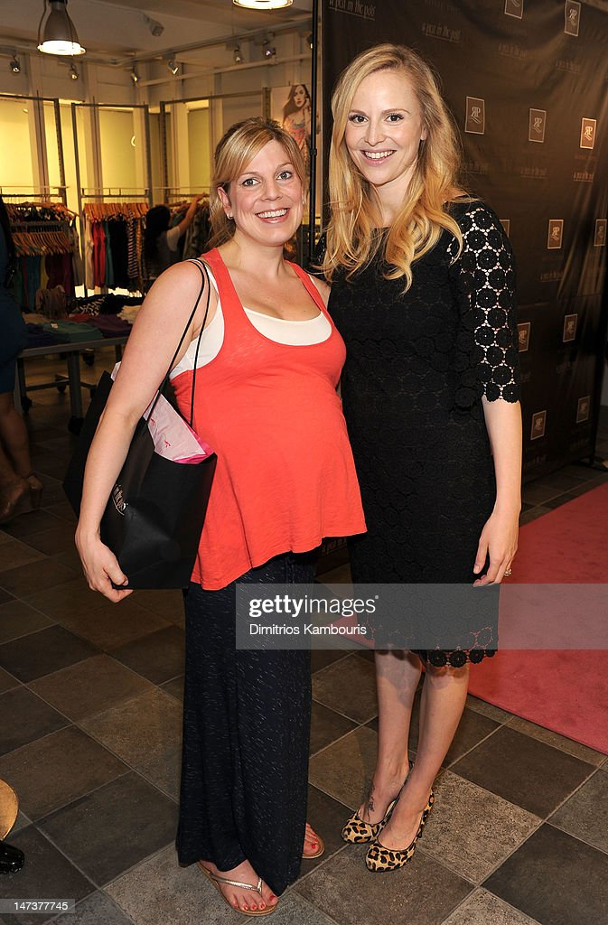 Kate Rohrlich (L) and Rosie Pope attend the Destination Maternity and Rosie Pope celebration for the launch of the exclusive Rosie Pope for A Pea in the Pod Collection at Destination Maternity on June 28, 2012 in New York City.