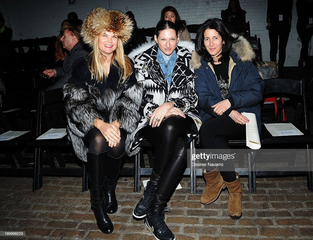 Kate Schelter, Jenna Lyons and <a gi-track='captionPersonalityLinkClicked' href=/galleries/search?phrase=Amanda+Ross&family=editorial&specificpeople=2110208 ng-click='$event.stopPropagation()'>Amanda Ross</a> attend Yigal Azrouel during Fall 2013 Mercedes-Benz Fashion Week at Highline Stages on February 8, 2013 in New York City.