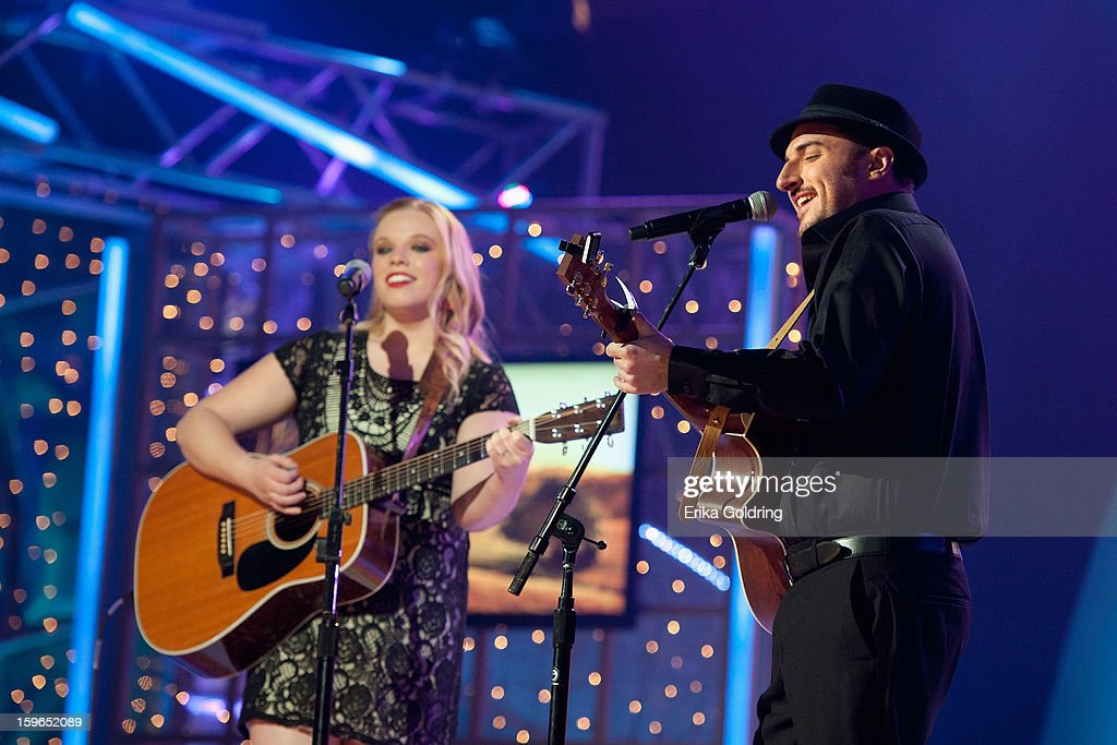 Kate Shaffer and Corey Coleman of Kate and Corey perform at the 31st annual Texaco Country Showdown fational final at the Ryman Auditorium on January 17, 2013 in Nashville, Tennessee.