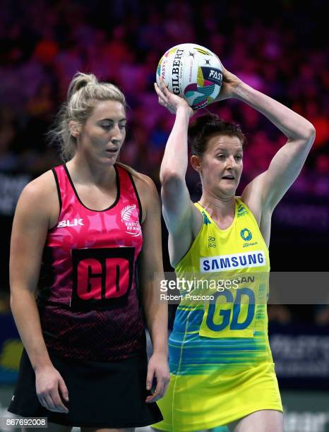Kate Shimmin of Australia looks to make a pass during the Fast5 World Series Netball match between Australia and New Zealand at Hisense Arena on...