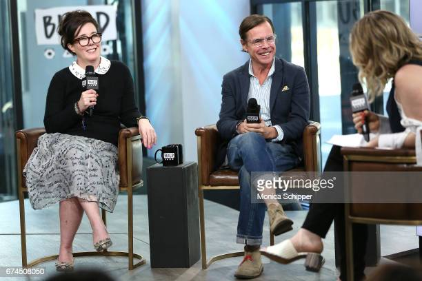 Kate Spade and Andy Spade speak on stage at Build Series Presents Kate Spade and Andy Spade Discussing Their Latest Project Frances Valentine at...