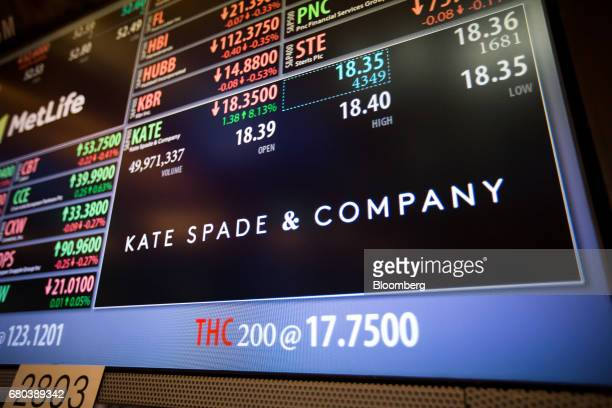 Kate Spade Co signage is displayed on a monitor on the floor of the New York Stock Exchange in New York US on Monday May 8 2017 US stocks slipped...