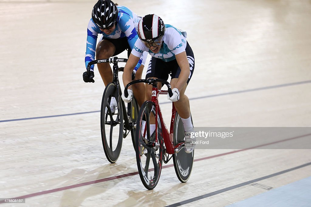 Kate Stewart of West Coast North Island and Bryony Botha of Auckland compete in the semifinals of the women's U19 sprint during the BikeNZ Elite U19...