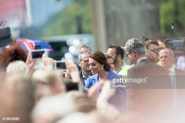 Kate the Duchess of Cambridge greats people during her visit in Berlin at Brandenburg Gate in Berlin on July 19 2017