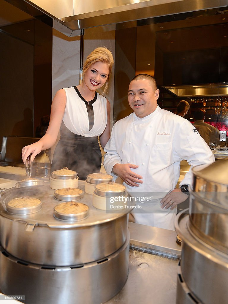 <a gi-track='captionPersonalityLinkClicked' href=/galleries/search?phrase=Kate+Upton&family=editorial&specificpeople=7488546 ng-click='$event.stopPropagation()'>Kate Upton</a> and Chef Joseph Elevado during Andrea's grand opening at Wynn Las Vegas on January 16, 2013 in Las Vegas, Nevada.
