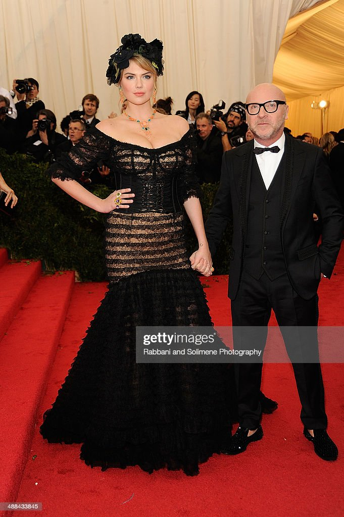 Kate Upton and Domenico Dolce attend the 'Charles James: Beyond Fashion' Costume Institute Gala at the Metropolitan Museum of Art on May 5, 2014 in New York City.