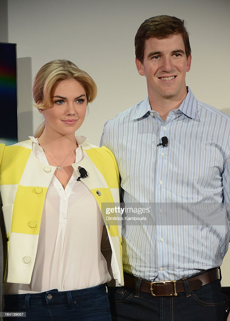 Kate Upton and Eli Manning attend the Samsung 2013 Television Line Launch Event at the Museum Of American Finance on March 20, 2013 in New York City.