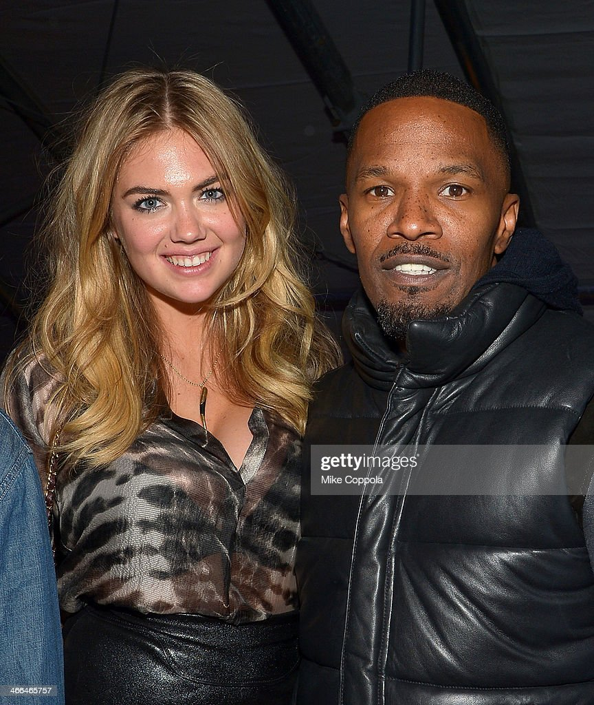 Kate Upton and Jamie Foxx attend the DirecTV Super Saturday Night at Pier 40 on February 1, 2014 in New York City.