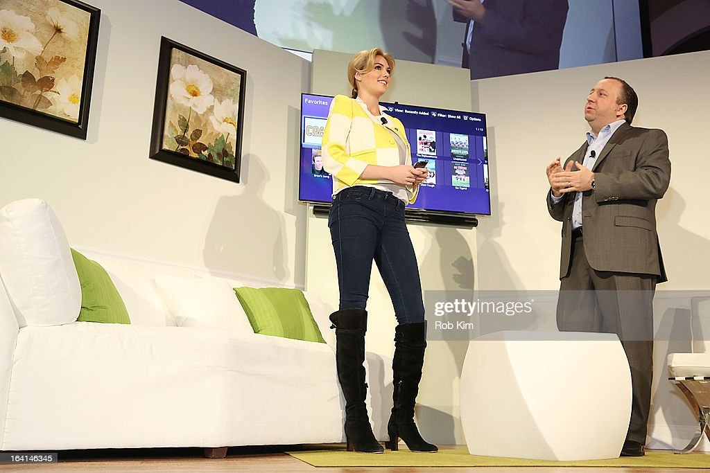 <a gi-track='captionPersonalityLinkClicked' href=/galleries/search?phrase=Kate+Upton&family=editorial&specificpeople=7488546 ng-click='$event.stopPropagation()'>Kate Upton</a> and Joe Stinziano, Executive Vice President Samsung Electronics America attend the launch of Samsung's 2013 Television line at Museum Of American Finance on March 20, 2013 in New York City.