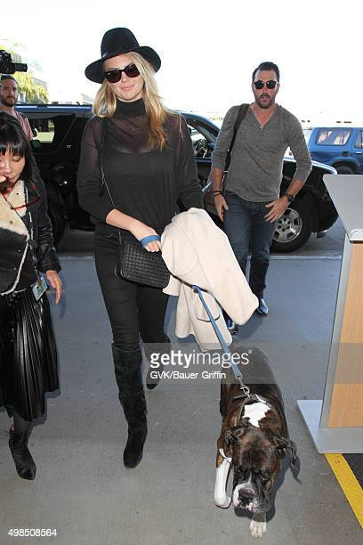 Kate Upton and Justin Verlander are seen at LAX on November 23 2015 in Los Angeles California