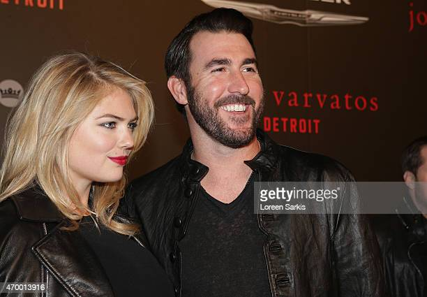Kate Upton and Justin Verlander attend John Varvatos Detroit Store Opening Party hosted by Chrysler on April 16 2015 in Detroit Michigan