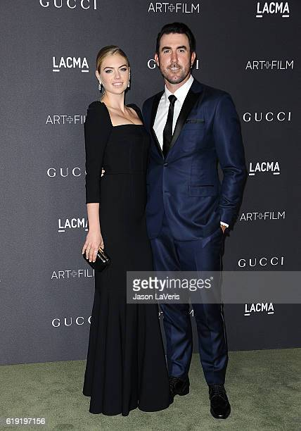 Kate Upton and Justin Verlander attend the 2016 LACMA Art Film gala at LACMA on October 29 2016 in Los Angeles California