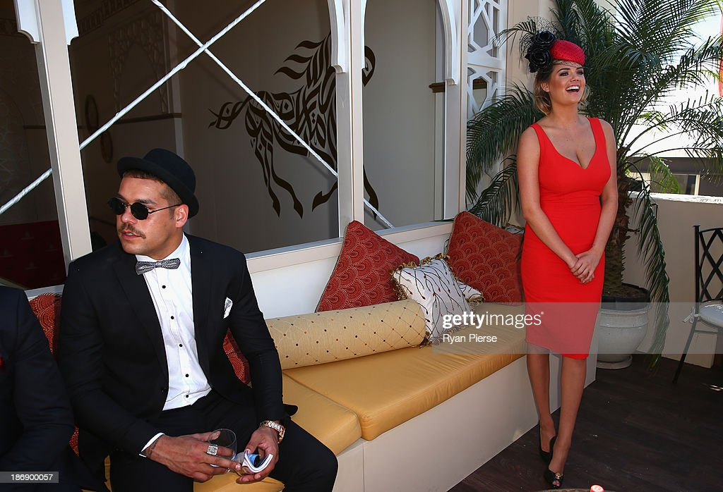 Kate Upton and Lance Franklin look on from the Emirates Marquee during Melbourne Cup Day at Flemington Racecourse on November 5, 2013 in Melbourne, Australia.