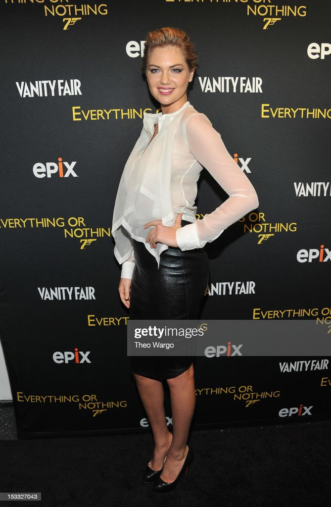 <a gi-track='captionPersonalityLinkClicked' href=/galleries/search?phrase=Kate+Upton&family=editorial&specificpeople=7488546 ng-click='$event.stopPropagation()'>Kate Upton</a> attends EPIX presents the Premiere screening of 'Everything or Nothing: The Untold Story of 007' at MOMA on October 3, 2012 in New York City.