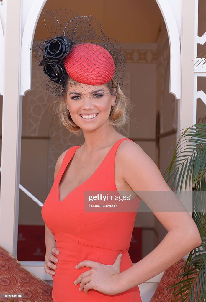 Kate Upton attends the Emirates marquee during Melbourne Cup Day at Flemington Racecourse on November 5, 2013 in Melbourne, Australia.