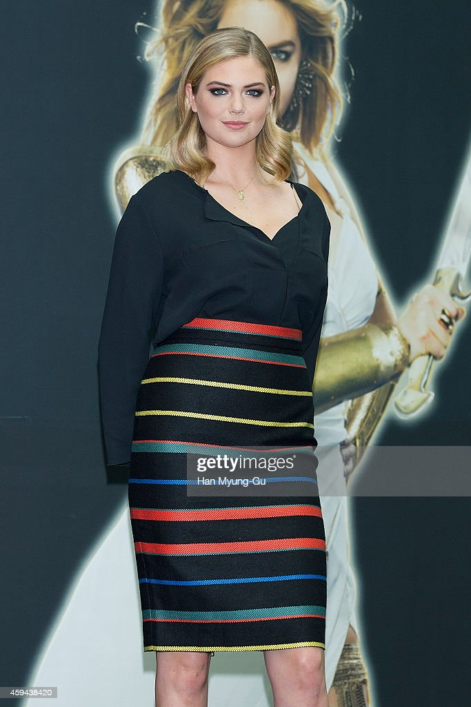 Kate Upton attends the promotional event for 'Game Of War Fire Age' at Times Square on November 23 2014 in Seoul South Korea