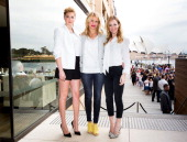 Kate Upton Cameron Diaz and Leslie Mann pose for a photo call to promote the release of 'The Other Woman' at the Park Hyatt on April 15 2014 in...