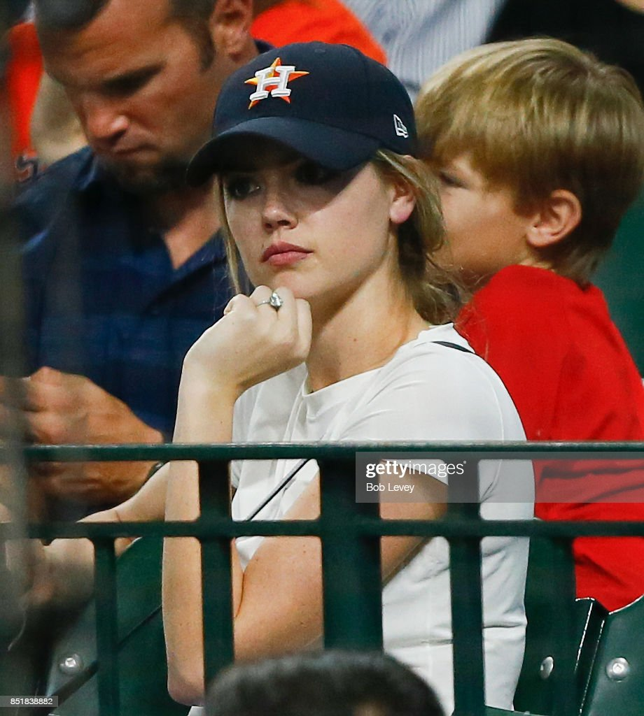 Kate Upton in attendance as her fiance Justin Verlander #35 of the Houston Astros pitches against the Los Angeles Angels of Anaheim at Minute Maid Park on September 22, 2017 in Houston, Texas.