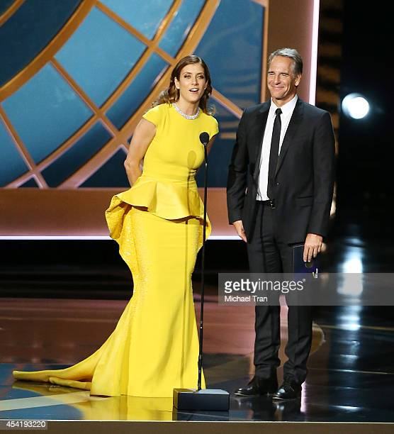 Kate Walsh and Scott Bakula speak onstage during the 66th Annual Primetime Emmy Awards held at Nokia Theatre LA Live on August 25 2014 in Los Angeles...
