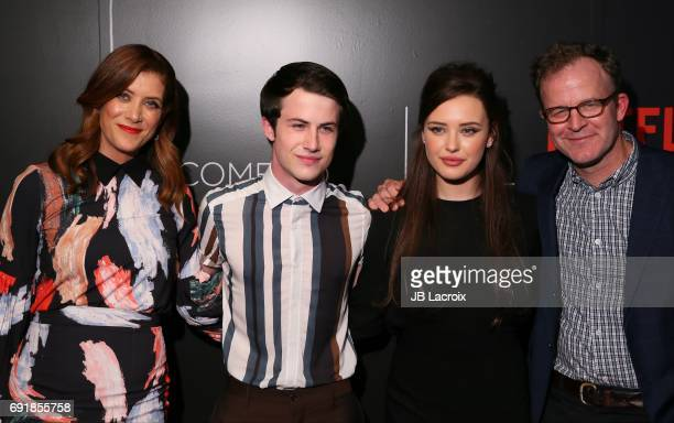 Kate Walsh Katherine Langford Dylan Minnette and Tom McCarthy attend Netflix's '13 Reasons Why' FYC event at Netflix FYSee Space on June 02 2017 in...