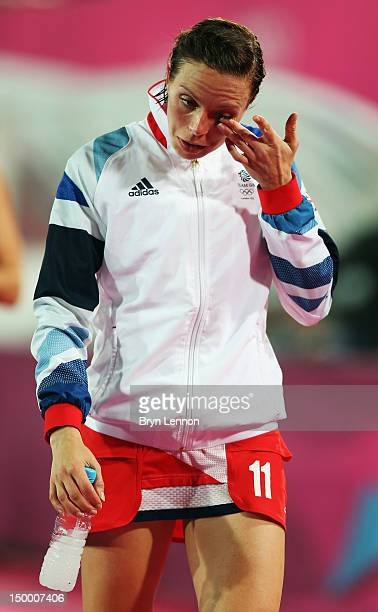 Kate Walsh of Great Britain leaves the pitch after losing to Argentina in the Women's Hockey semifinal match between Argentina and Great Britain on...