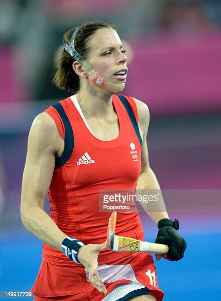 Kate Walsh of Great Britain wearing her face mask during the Women's Hockey match between Great Britain and the Netherlands on Day 10 of the London...