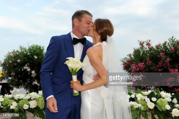 Kate Waterhouse and Luke Ricketson attend their wedding on June 28 2012 in Taormina Italy