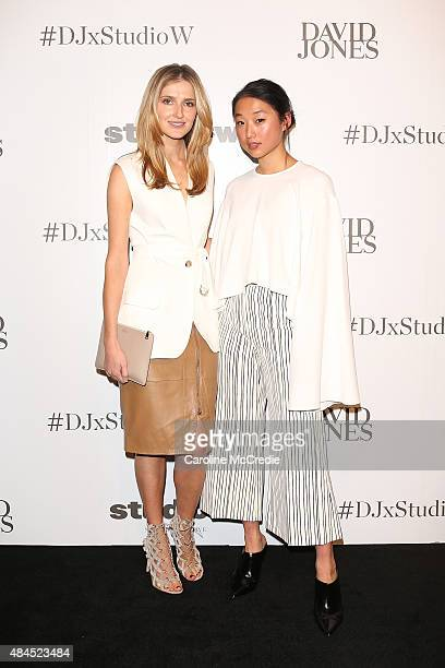 Kate Waterhouse and Margaret Zhang arrive ahead of the StudioW launch at David Jones Elizabeth Street Store on August 20 2015 in Sydney Australia