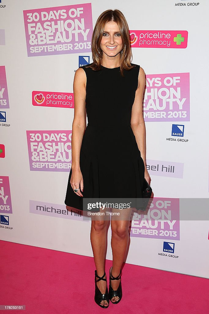 Kate Waterhouse arrives at the 30 Days of Fashion and Beauty launch party at Town Hall on August 28, 2013 in Sydney, Australia.