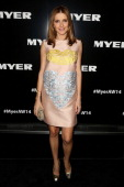 Kate Waterhouse arrives at the Myer Autumn Winter 2014 Fashion Launch at Myer Mural Hall on February 20 2014 in Melbourne Australia