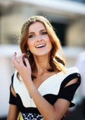 Kate Waterhouse arrives during Melbourne Cup Day at Flemington Racecourse on November 5 2013 in Melbourne Australia