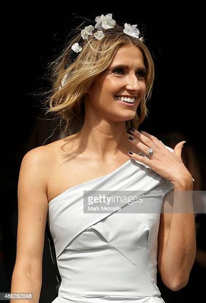Kate Waterhouse arrives for the 2015 Sydney Spring Carnival launch at Royal Randwick Racecourse on September 3 2015 in Sydney Australia