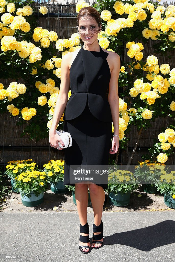 Kate Waterhouse arrives on Victoria Derby Day at Flemington Racecourse on November 2, 2013 in Melbourne, Australia.