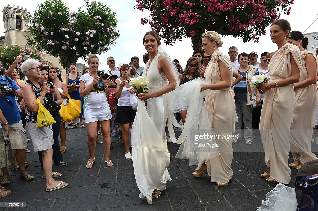 <a gi-track='captionPersonalityLinkClicked' href=/galleries/search?phrase=Kate+Waterhouse&family=editorial&specificpeople=208104 ng-click='$event.stopPropagation()'>Kate Waterhouse</a> attends her wedding to Luke Ricketson on June 28, 2012 in Taormina, Italy.
