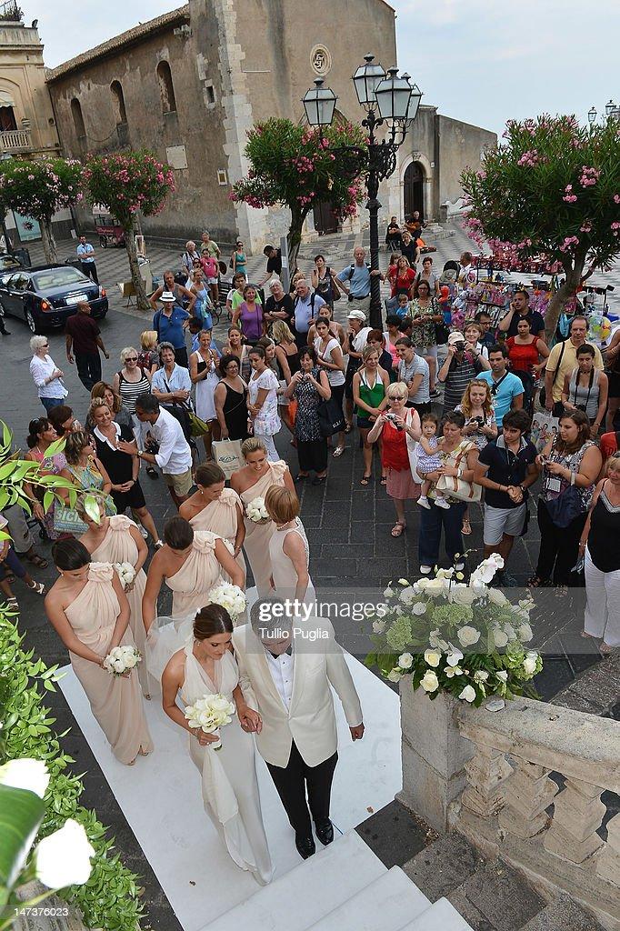 Kate Waterhouse attends her wedding to Luke Ricketson on June 28, 2012 in Taormina, Italy.