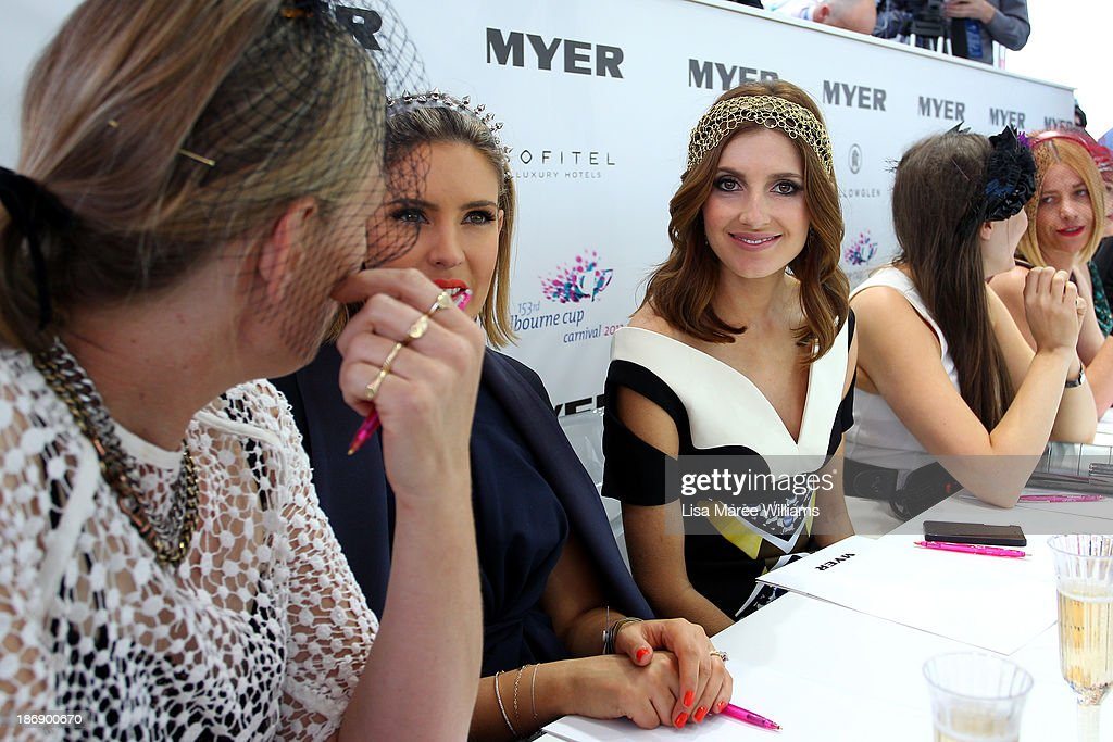 Kate Waterhouse looks on during judging of Fashions on the Field during Melbourne Cup Day at Flemington Racecourse on November 5, 2013 in Melbourne, Australia.