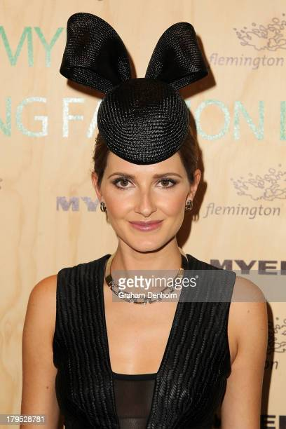 Kate Waterhouse poses as she arrives at the Myer Spring Fashion Lunch at Flemington Racecourse on September 5 2013 in Melbourne Australia