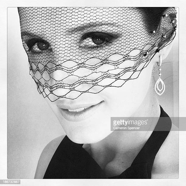 Kate Waterhouse poses in the Birdcage during Victoria Derby Day at Flemington Racecourse on November 2 2013 in Melbourne Australia