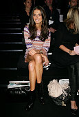 Kate Waterhouse poses next to her front row seat prior to the Zimmermann show at the Overseas Passenger Terminal Circular Quay on day two of...