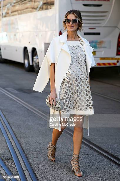Kate Waterhouse wearing a Christopher Esber coat Smortmax dress Fendi handbag and Dita Eyewear sunglasses arrives ahead of the Ginger and Smart show...
