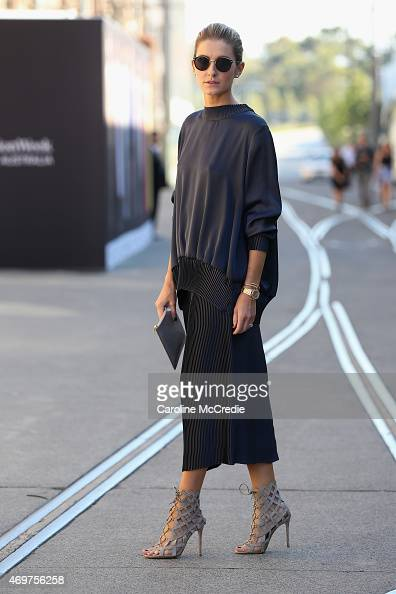 Kate Waterhouse wearing a Christopher Esber outfit and Celine Sunglasses at MercedesBenz Fashion Week Australia 2015 at Carriageworks on April 15...
