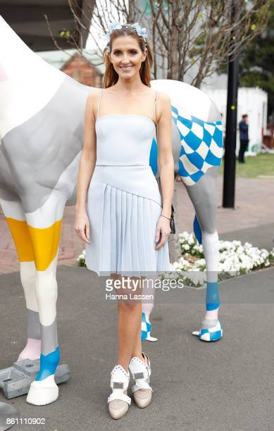 Kate Waterhouse wearing Nerida Winter headpiece Dion Lee dress and Unpredictaheel at TAB Everest Day at Royal Randwick Racecourse on October 14 2017...