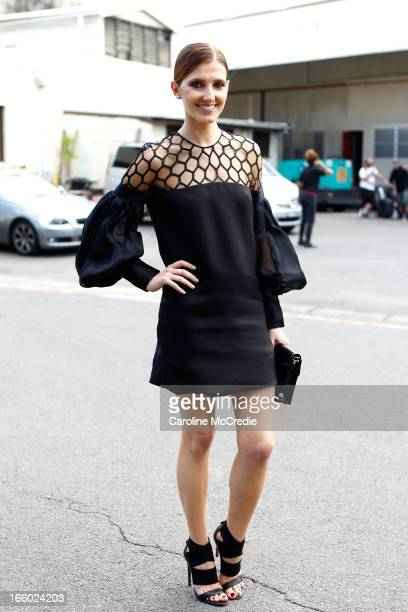 Kate Waterhouse wears a dress by Gucci at MercedesBenz Fashion Week Australia Spring/Summer 2013/14 at Carriageworks on April 8 2013 in Sydney...