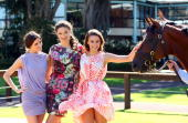 Kate WaterhouseAlexandra Agoston and Rachael Finch pose during the celebration for the arrival of world champion racehorse Big Brown at the Inglis...