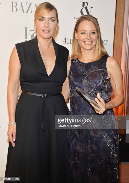 Kate Winslet and Jodie Foster winner of the Inspiration Award attend Harper's Bazaar Women of the Year Awards in association with Ralph Russo...