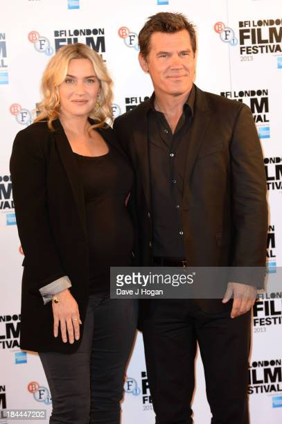 Kate Winslet and Josh Brolin attend a photocall for 'Labor Day' during the 57th BFI London Film Festival at The Mayfair Hotel on October 14 2013 in...