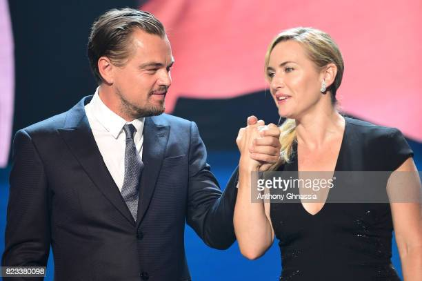 Kate Winslet and Leonardo DiCaprio are seen on stage during the Leonardo DiCaprio Foundation 4th Annual SaintTropez Gala at Domaine Bertaud Belieu on...