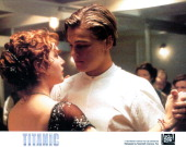 Kate Winslet and Leonardo DiCaprio dancing in a scene from the film 'Titanic' 1997