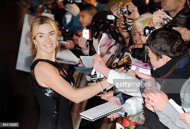 Kate Winslet arrives for the European Premiere of 'Revolutionary Road' at the Odeon Leicester Square on January 18 2009 in London England